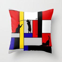 cat Mondrian Throw Pillow