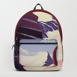 Grand Targhee, Alta, Wyoming ski poster Backpack