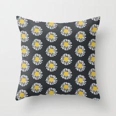 Daisy pattern basic flowers floral blossom botanical print charlotte winter dark color Throw Pillow