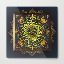 Golden Filigree Mandala Metal Print