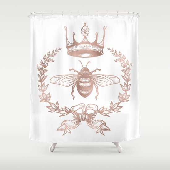 Queen Bee in Rose Gold Pink Shower Curtain by Nature Magick Society6
