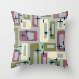Retro Mid Century Modern Abstract Pattern 578 Wine Olive and Gray Throw Pillow