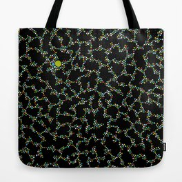 Blue/Green Dots in Black Design Tote Bag
