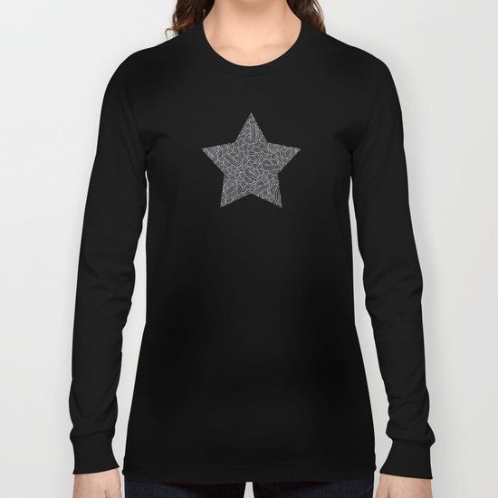 Black and faux silver swirls doodles Long Sleeve T-shirt