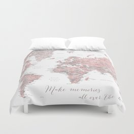 Make memories - Dusty pink and grey watercolor world map, detailed Duvet Cover