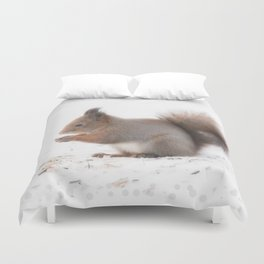 Squirrel And Lunch Pause Winter Scene #decor #society6 #buyart Duvet Cover