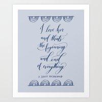 I Love Her in Light Blue Art Print