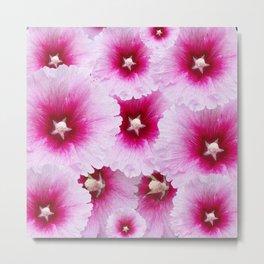 FUCHSIA-PINK HOLLYHOCK  FLOWER PATTERNS Metal Print