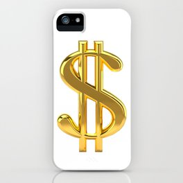 Gold Dollar Sign on White iPhone Case