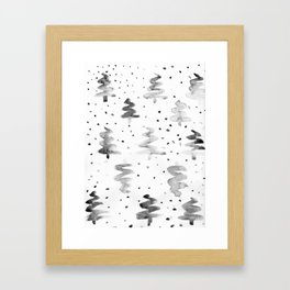 Black and White Chritmas Pines Framed Art Print