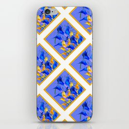 PATTERNED MODERN ABSTRACT BLUE & GOLD CALLA LILIES iPhone Skin