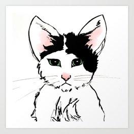Sadface Cat Sketch Art Print
