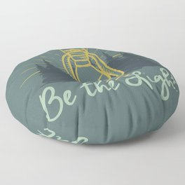 BE THE LIGHT colorful lantern positive Christian quote Floor Pillow
