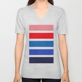 Colorful Red and Blue Geometric Pattern Unisex V-Neck