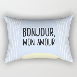Bonjour Mon Amour #childrensroom #baby #babyshower #illustration #gift #home #decor #sun #pastel #de Rectangular Pillow
