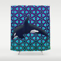 orca Shower Curtains featuring Orca by Dusty Goods