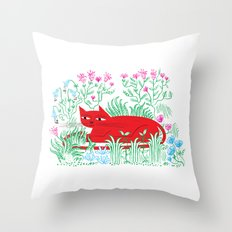 The Garden Cat Throw Pillow