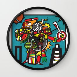 Humble Witch Doctor - Aztec / MesoAmerican Abstract Illustration Wall Clock