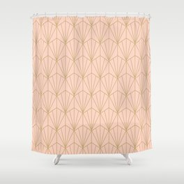 Art Deco Vector in Peach and Gold Shower Curtain