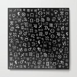 Astrological symbols glyphs Silver on black Metal Print