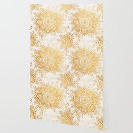 Queen Starring of Mandala-Gold Sunflower I Wallpaper