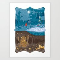 fairytale Art Prints featuring Fairytale by Squid