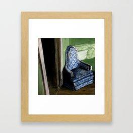 Old Blue Chair in Sunlight Corner Framed Art Print