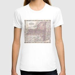 Vintage New York State Railroad Map (1876) T-shirt