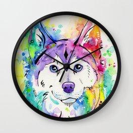 Happy - Siberian Husky Watercolor Art Wall Clock