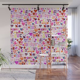Love doodles in pink colors Wall Mural
