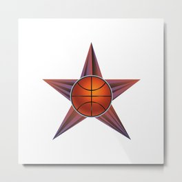 Basketball ball in the star Metal Print