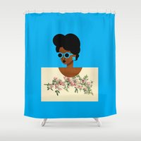 postcard Shower Curtains featuring Postcard Woman Blue by The Pairabirds