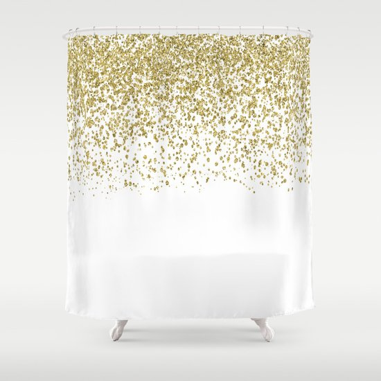 Sparkling Gold Glitter Confetti On Simple White Background Pattern Society6 Shower Curtain By