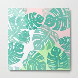 Linocut Monstera Tricolori Metal Print