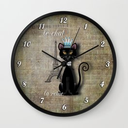 Le Chat, La Reine - The Cat, The Queen Wall Clock