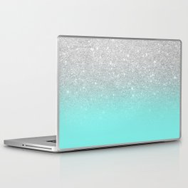Modern girly faux silver glitter ombre teal ocean color bock Laptop & iPad Skin