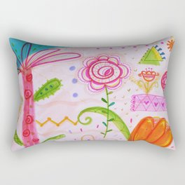 Palm and Florals Illustration by Paisley in Paris™ Rectangular Pillow