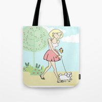 icecream Tote Bags featuring Icecream by Marisa Marín