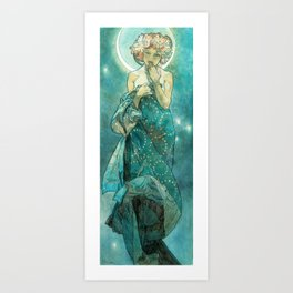 Alphonse Mucha Moonlight Art Nouveau Art Print