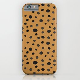 Black and Brown Modern Watercolor Polka Dots iPhone Case