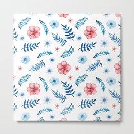 Hand painted pink blue teal watercolor floral leaves pattern Metal Print