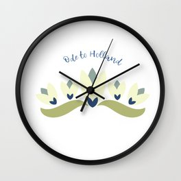 Dutch tulips pale yellow green and blue Wall Clock