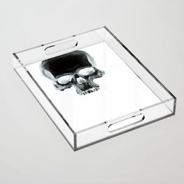 Black Skull on White Acrylic Tray