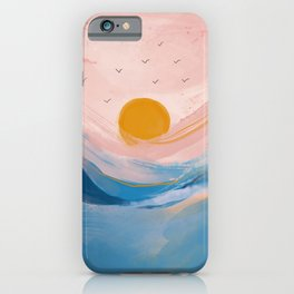 Pink and Blue Abstract Art Ocean and Sunrise iPhone Case
