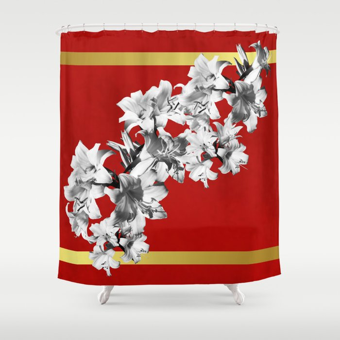 Lilies, Lily Flowers on Red Shower Curtain