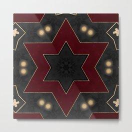 Deep Red Black and Gold Star Pattern Metal Print