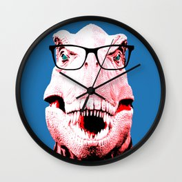 Geek T-Rex with Blue Background Wall Clock