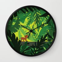 simba Wall Clocks featuring Lion King - Simba Pattern by Cina Catteau