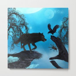 Awesome black wolf with crow Metal Print