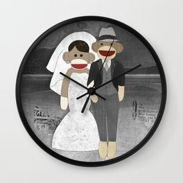 Sock Monkey Wedding Wall Clock